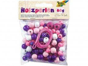Folia 22973 - Dřevěné korálky - fialová/růžová, 60 g