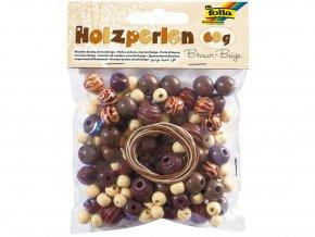 Folia 22975 - Dřevěné korálky - hnědá/béžová, 60 g