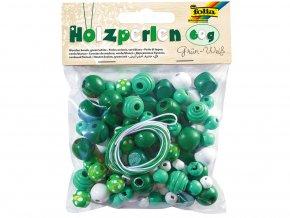 Folia 22974 - Dřevěné korálky - zelená/bílá 60 g