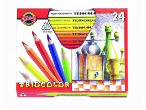 Kohinoor 315424 Trojhranné silné pastelky TRIOCOLOR - 24 barev