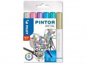Popisovače Pintor Metal - Sada 6 ks, hrot EF
