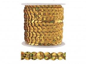 Anděl 2092 - Dekorační flitry vázané zlaté, 3 m