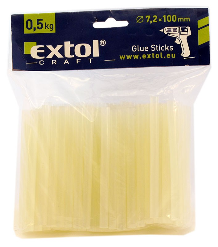 EXTOL Tavné lepící tyčinky transparentní, rozměr 7 x 100 mm, balení 0,5 kg, Ø 7 mm