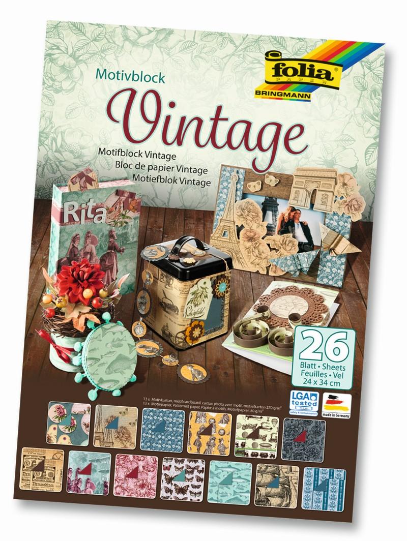 Blok s motivem VINTAGE - 270 g/m2 a 80 g/m2, 26 listů, 24 x 34 cm