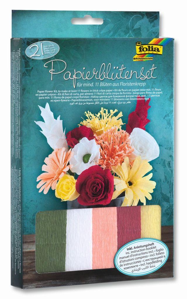 Folia 82319 - Krepové květiny - sada na výrobu 11 kusů papírových květin