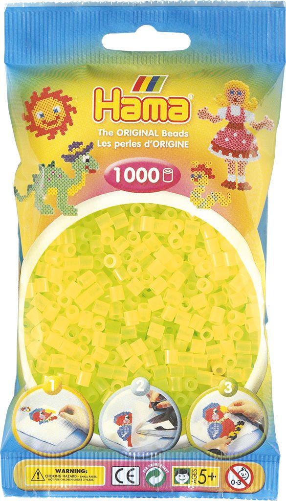 HAMA MIDI zažehlovací korálky neonové žluté - 1000 ks