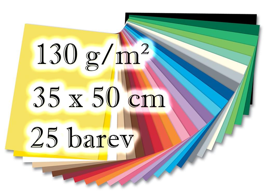 Barevné papíry - 130 g/m² , 25 listů, 25 barev, 35 x 50 cm