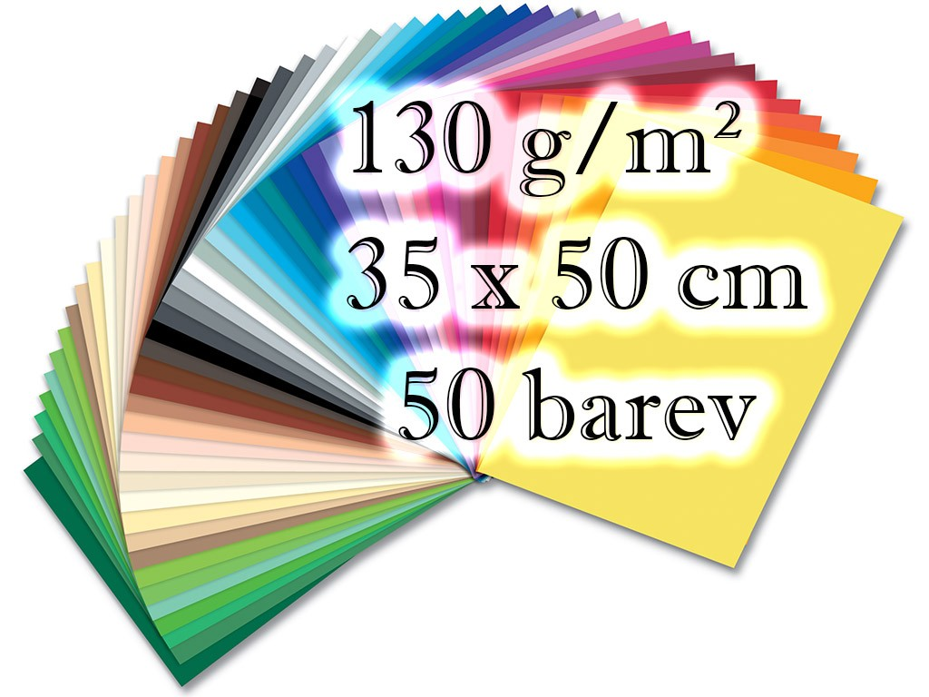 Barevné papíry - 130 g/m2, 50 listů, 50 barev, 35 x 50 cm
