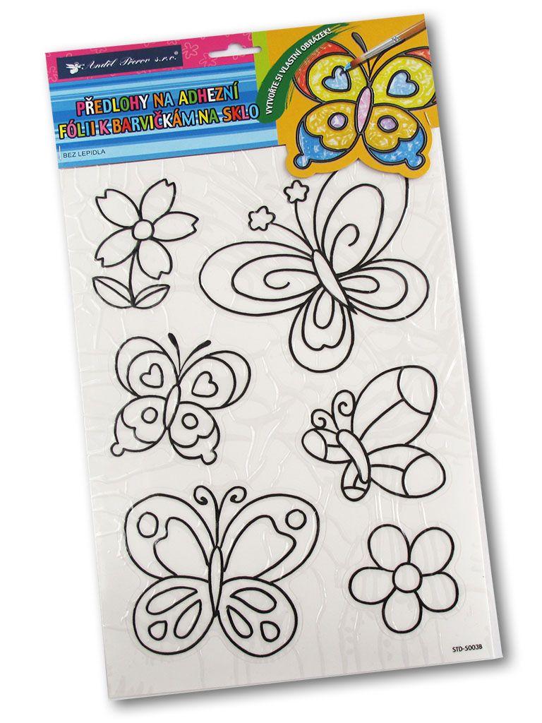 Šablony k barvám na sklo na adhezní fólii - Motýli