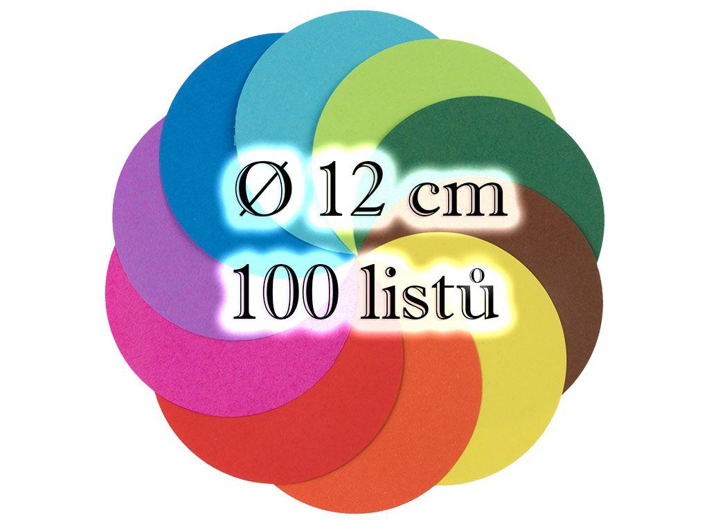 Kulatý origami papír 70 g/m2 - Ø 12 cm, 100 archů v 10-ti barvách
