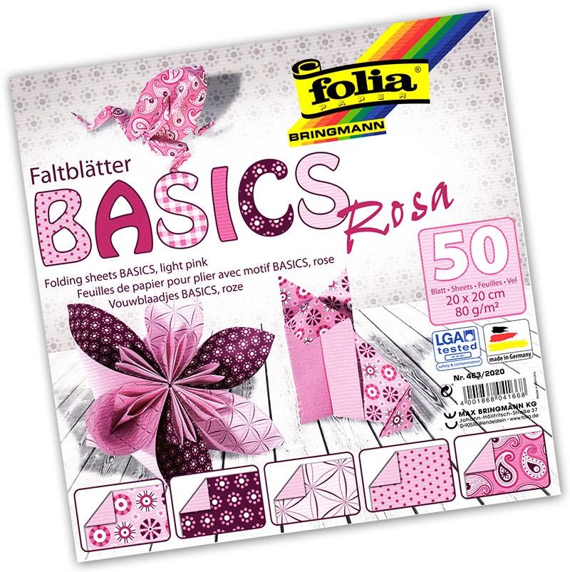 Folia - Max Bringmann Origami papír Basics 80 g/m2 - 20 x 20 cm, 50 archů - růžový