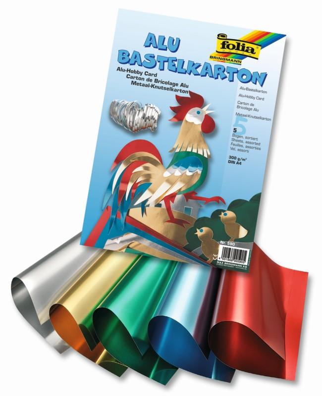 Folia - Max Bringmann Alu-karton oboustranný - 300 g/m2, A4 - 5 listů, 5 barev