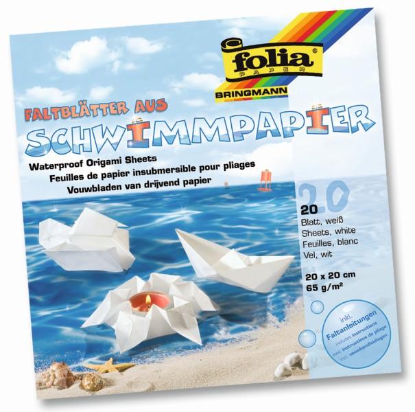 Folia - Max Bringmann Voděodolný papír 65 g/m2 - 20 x 20cm - 20 listů v bílé barvě