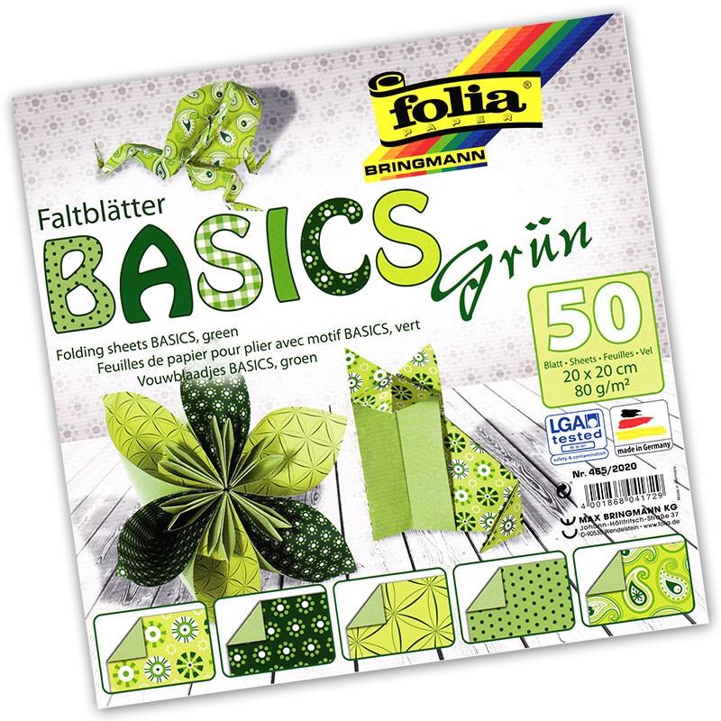 Folia - Max Bringmann Origami papír Basics 80 g/m2 - 20 x 20 cm, 50 archů - zelený