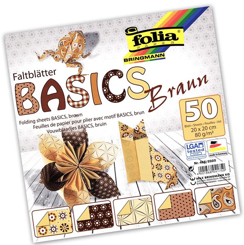 Folia - Max Bringmann Origami papír Basics 80 g/m2 - 20 x 20 cm, 50 archů - hnědý