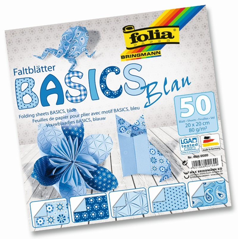 Folia - Max Bringmann Origami papír Basics 80 g/m2 - 20 x 20 cm, 50 archů - modrý