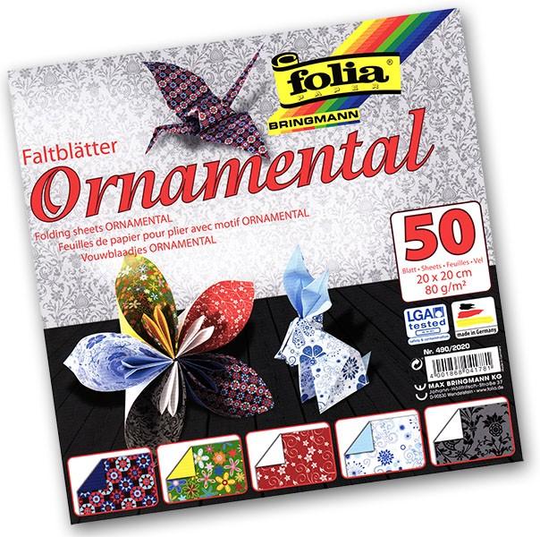 Folia - Max Bringmann Origami papír Ornamental 80 g/m2 - 20 x 20 cm, 50 archů