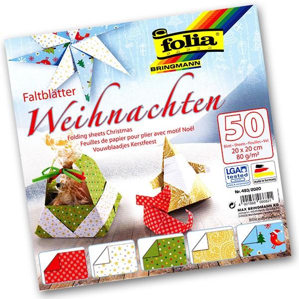 Folia - Max Bringmann Origami papír Vánoce 80 g/m2 - 20 x 20 cm, 50 archů