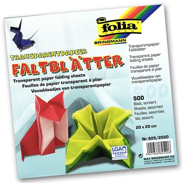 Folia - Max Bringmann Origami papír transparentní 42 g/m2 - 20 x 20 cm, 500 archů v 10-ti barvách