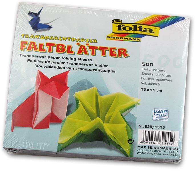Folia - Max Bringmann Origami papír transparentní 42 g/m2 - 15 x 15 cm, 500 archů v 10-ti barvách
