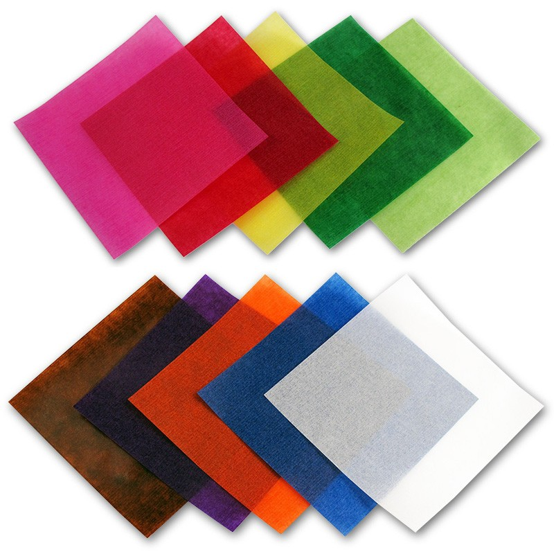 Origami papír transparentní 42 g/m2 - 15 x 15 cm, 500 archů v 10-ti barvách