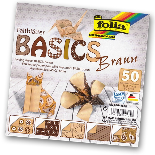 Folia - Max Bringmann Origami papír Basics 80 g/m2 - 15 x 15 cm, 50 archů - hnědý