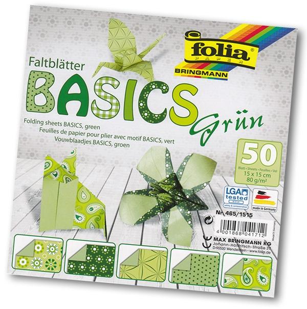 Folia - Max Bringmann Origami papír Basics 80 g/m2 - 15 x 15 cm, 50 archů - zelený