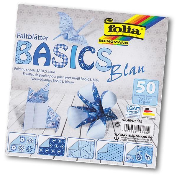 Folia - Max Bringmann Origami papír Basics 80 g/m2 - 15 x 15 cm, 50 archů - modrý