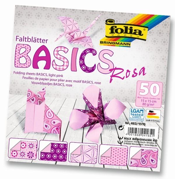 Folia - Max Bringmann Origami papír Basics 80 g/m2 - 15 x 15 cm, 50 archů - růžový