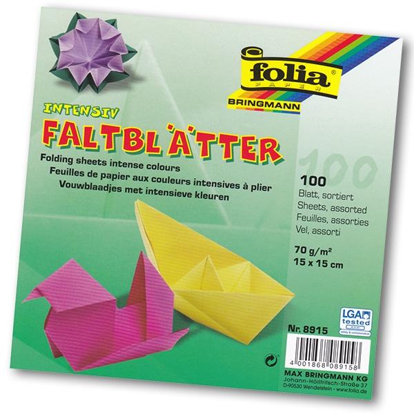 Folia - Max Bringmann Origami papír 70 g/m2 - 15 x 15 cm, 100 archů v 10-ti barvách