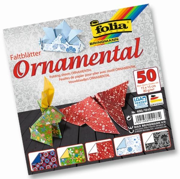 Folia - Max Bringmann Origami papír Ornamental 80 g/m2 - 15 x 15 cm, 50 archů