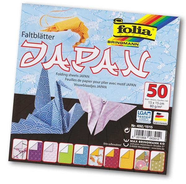 Folia - Max Bringmann Origami papír Japan 80 g/m2 - 15 x 15 cm, 50 archů