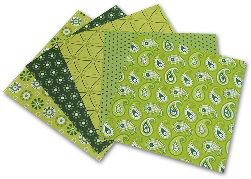 Fotografie Folia - Max Bringmann Origami papír Basics 80 g/m2 - 10 x 10 cm, 50 archů - zelený