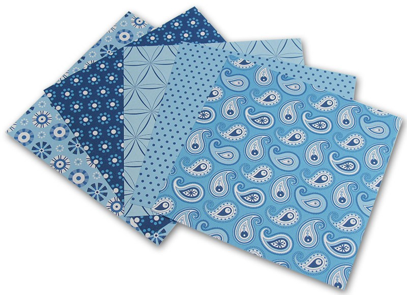 Origami papír Basics 80 g/m2 - 10 x 10 cm, 50 archů - modrý