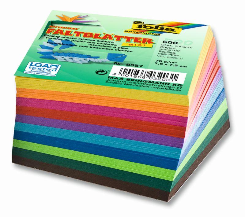 Origami papír 70 g/m2 - 7,5 x 7,5 cm, 500 archů v 10-ti barvách