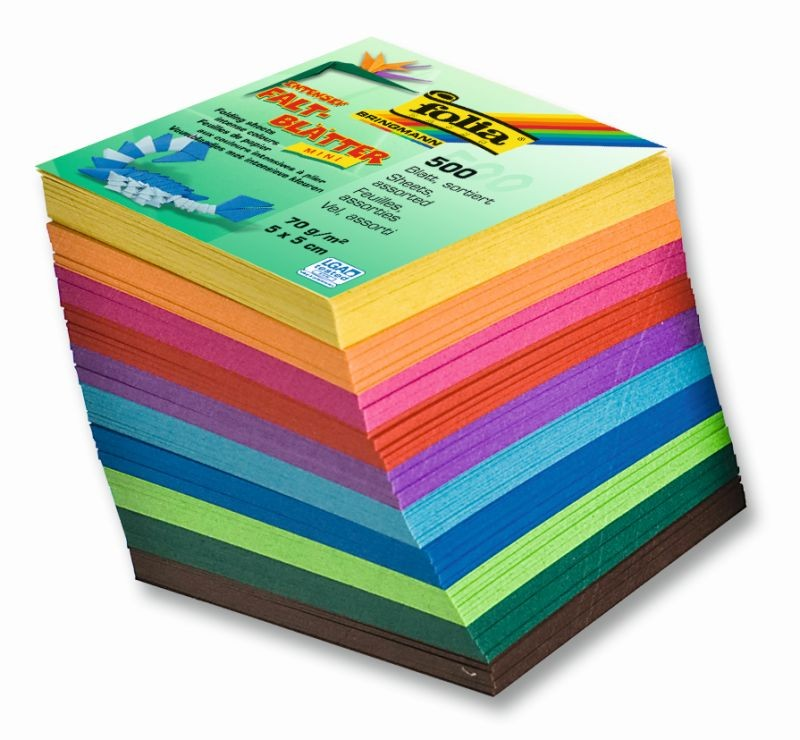 Origami papír 70 g/m2 - 5 x 5 cm, 500 archů v 10-ti barvách