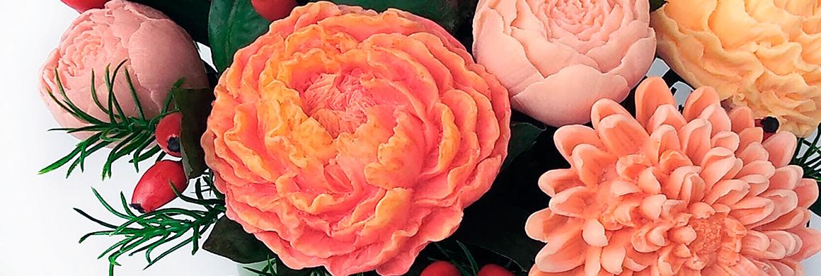 mýdlová kytice pivoňky oranžové