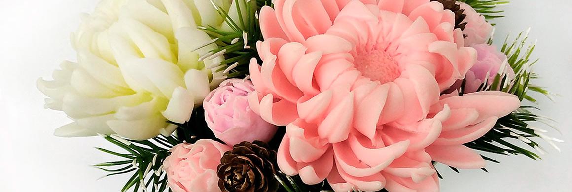 mýdlová kytice chryzantémy