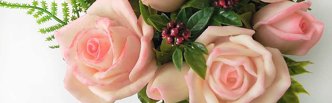Čajové růže - mýdlová kytice