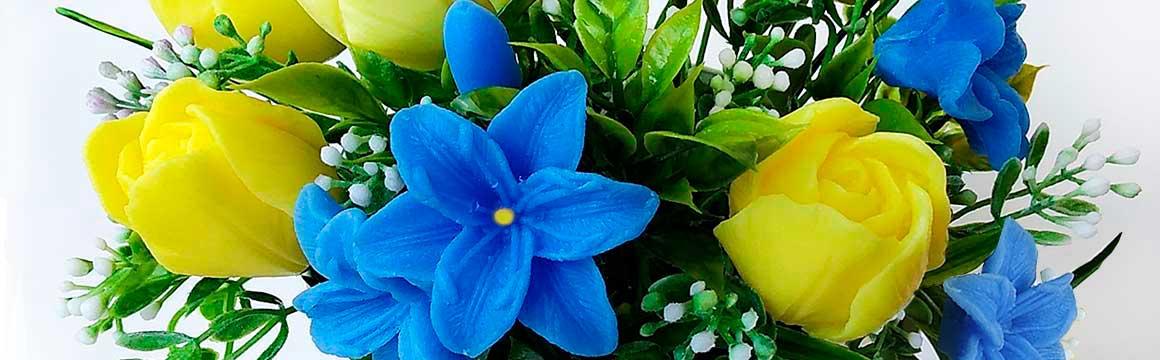 jarní mýdlová kytice modrá
