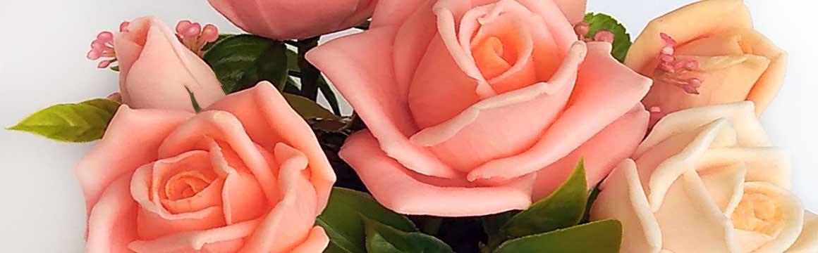 Kytice mýdlová lososové růže