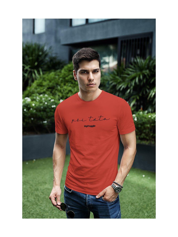 psí táta written červená tričko