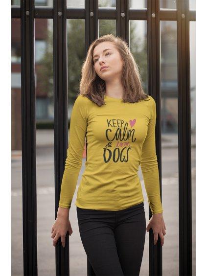 keep calm žlutá dlouhý rukáv