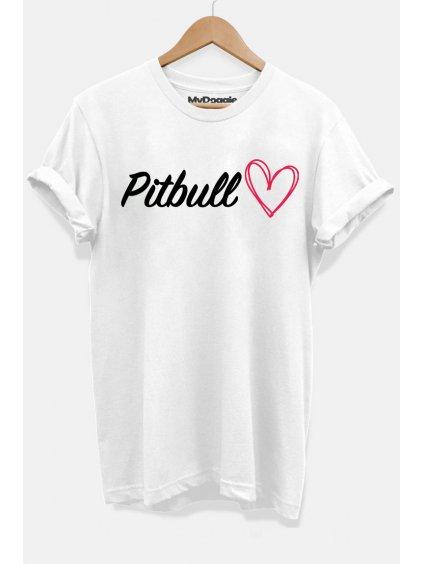 Pitbull nápis srdce bílá D