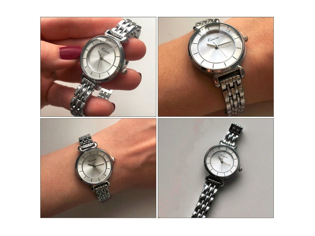 bcdc452213d KIMIO - STRIEBORNÉ ATRAKTÍVNE DÁMSKE HODINKY ZN. KIMIO - STRIEBORNÉ.  Elegantné dámske hodinky s bielym ciferníkom.