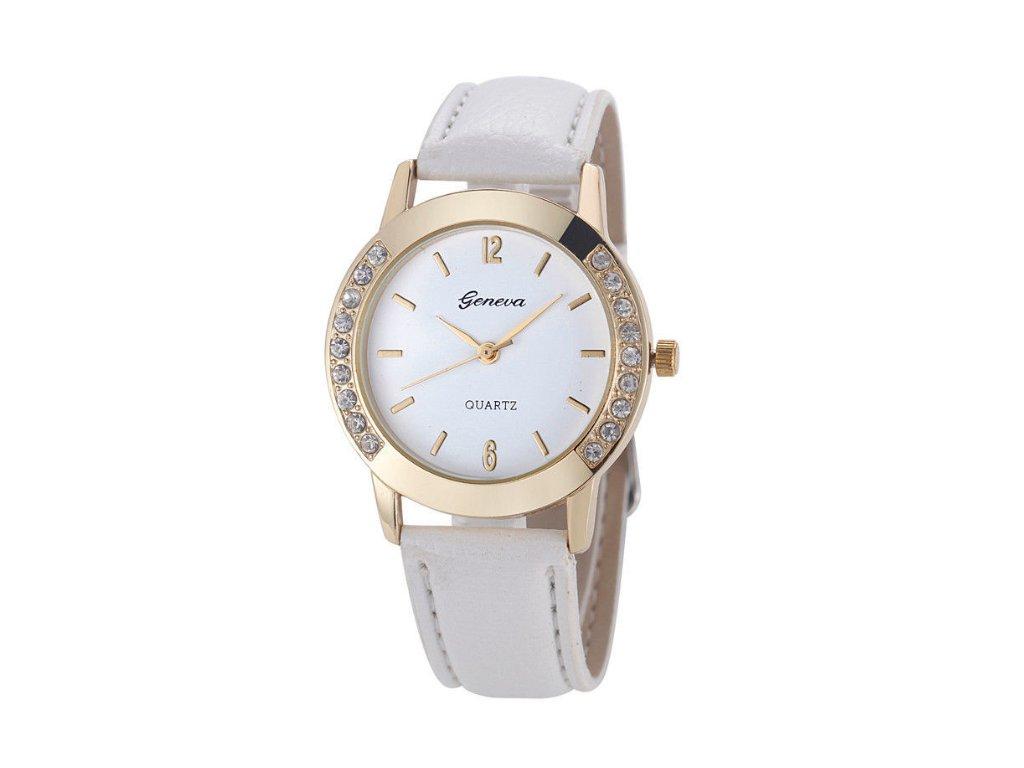 Dámske hodinky s kamienkami Geneva biele - myElegans.sk 4c520972847