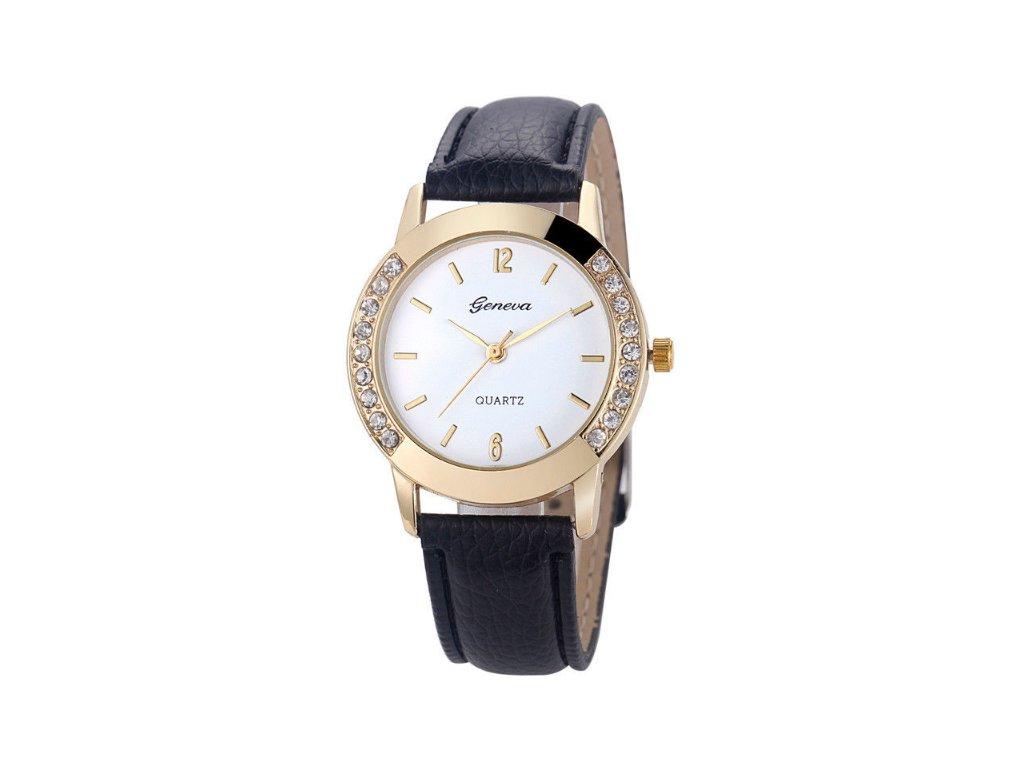 c7e632e5856 Dámske hodinky s kamienkami Geneva čierne - myElegans.sk