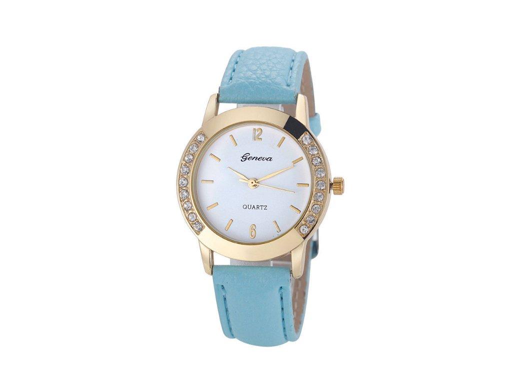 Dámske hodinky s kamienkami Geneva modré svetlé - myElegans.sk 8a610a1543e