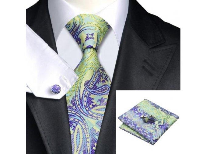 Kravatový set fialovo zelený, 100% hodváb
