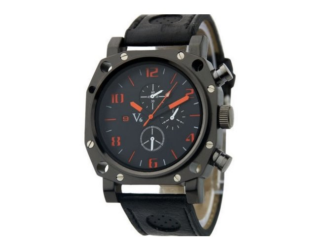 MÓdne veľké pánske hodinky s koženým remienkom